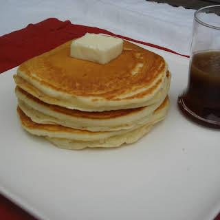 Pancakes With Buttery Bourbon Maple Syrup.