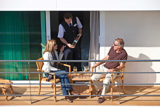Scenic-Cruises-Sun-Deck-Wine - Guests aboard Scenic Cruises can have private conversations while enjoying a glass of wine on the sun deck while enjoying the views.