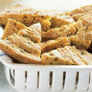 Skillet Corn Bread with Roasted Poblano and Oregano.