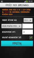 Screenshot of Výpočet mzdy zamestnanca