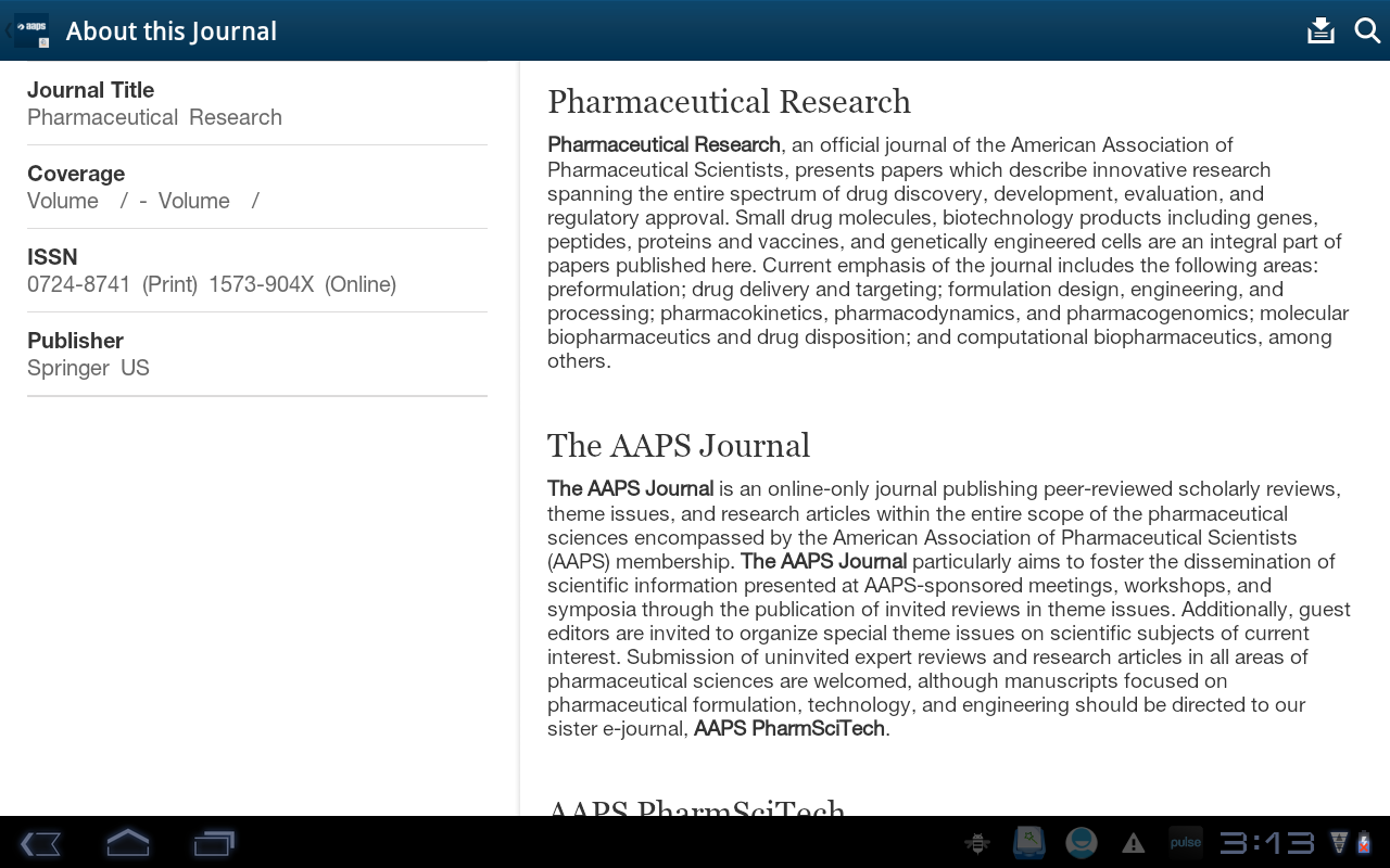 AAPS Journals - screenshot