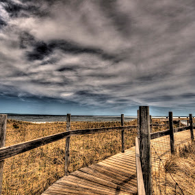 Spring Boardwalk to the Beach by Marilyn Magnuson - Landscapes Beaches ( dark sky, brown grasses, beach grass, wood railings, boardwalk, deep clouds )