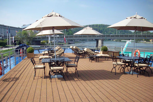 Uniworld-River-Beatrice-sundeck - You'll want to take advantage of the vantage points on River Beatrice's sundeck as you make your way down the scenic Danube River.