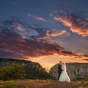 From Romania with Love by Marius Igas - Wedding Bride & Groom ( sunset, wedding, romania, turda, bride, groom )
