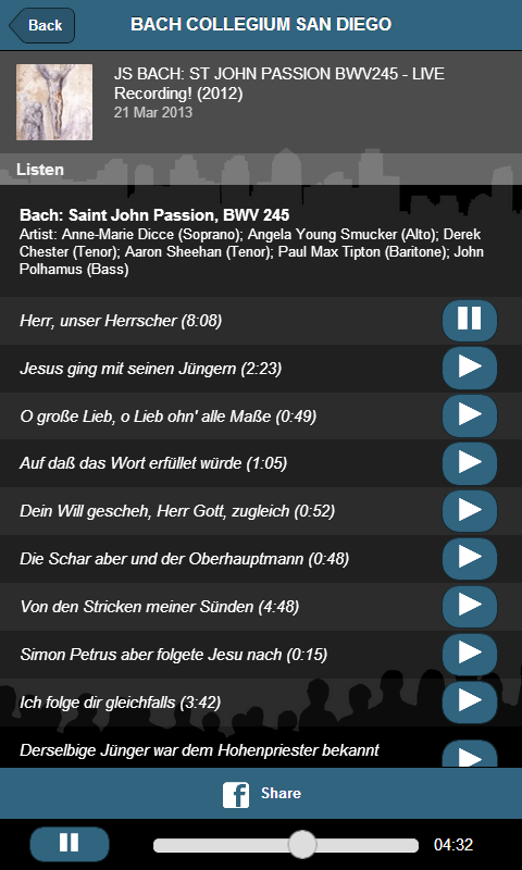 Bach Collegium San Diego - screenshot