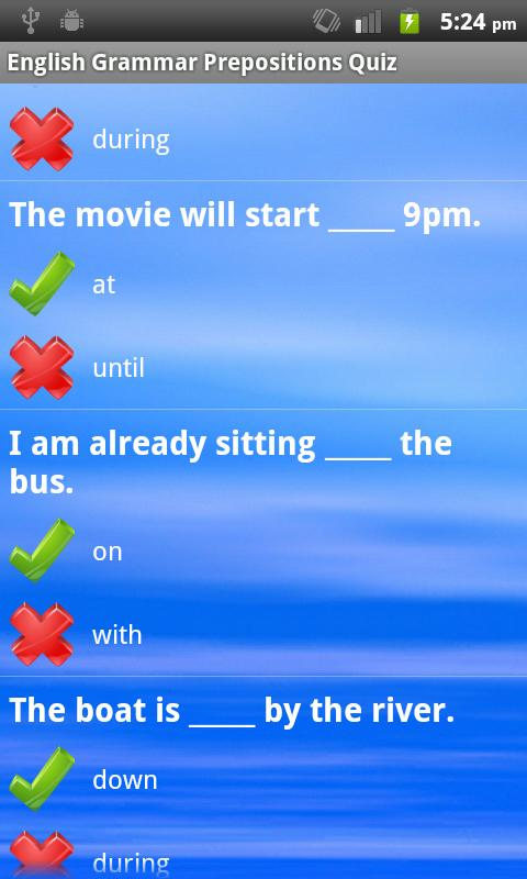 English Grammar Prepositions - screenshot
