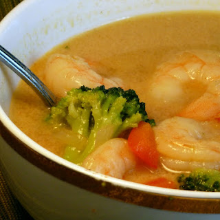 Spicy Coconut Soup with Broccoli and Shrimp-.