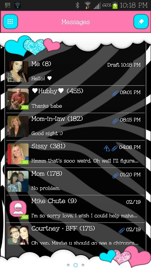GO SMS - Loving Hearts - screenshot