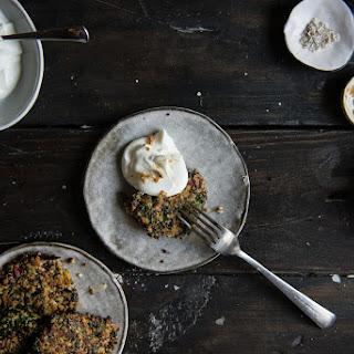 Swiss Chard & Quinoa Cakes, With Garlic Yogurt.