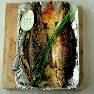 Trout with Butter, Creme Fraiche and Chives.