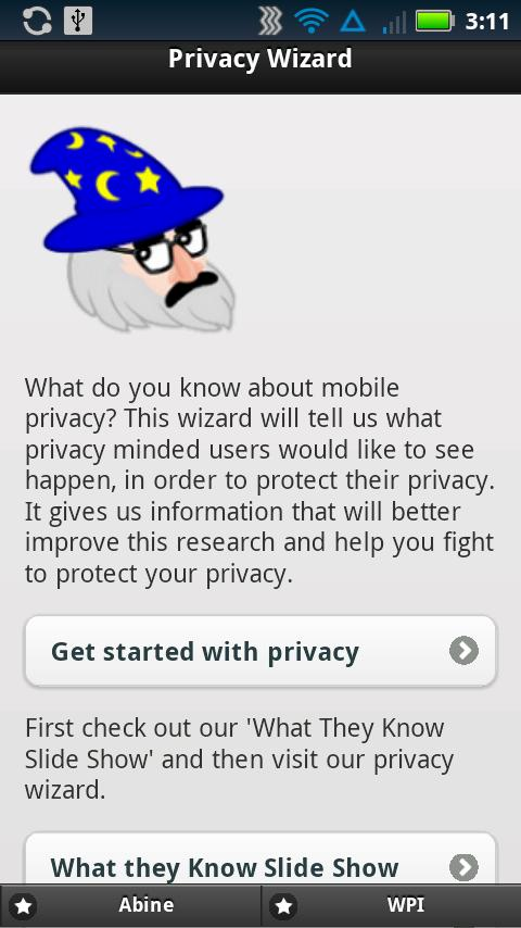 Privacy Wizard - screenshot