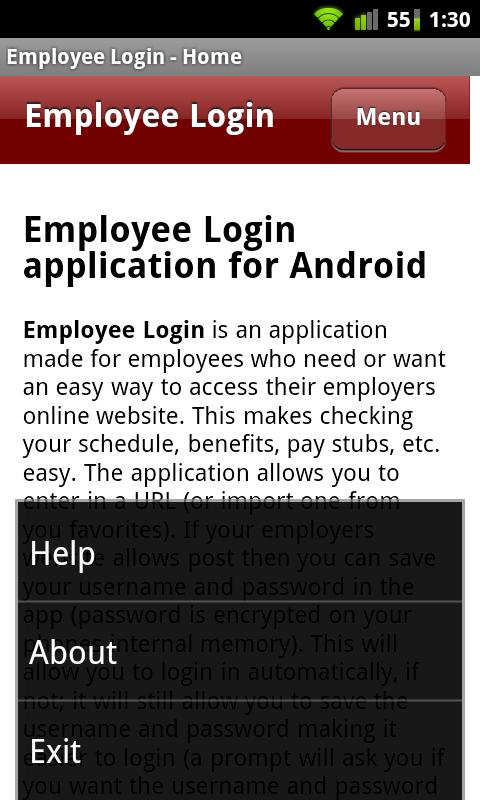 Employee Login - screenshot