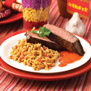 Grilled Sirloin Steak With Pimento Black Pepper Tequila Sauce.