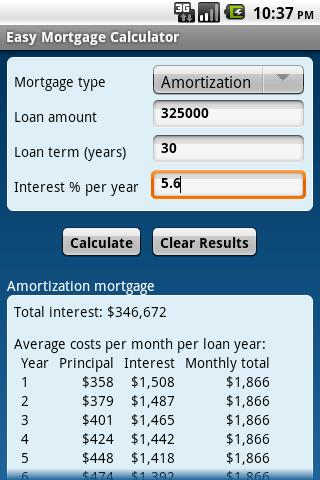 Easy Mortgage Calculator - screenshot