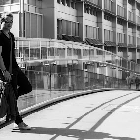 Loitering with intent by Christine Schmidt - Black & White Street & Candid ( street, candid, leica, portrait, man )