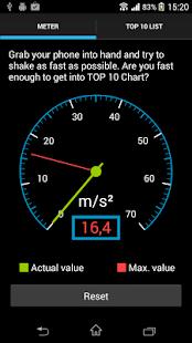 Accelerometer shake meter