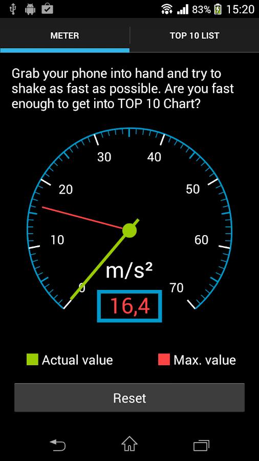 Accelerometer (shake meter) - screenshot