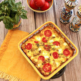 Baked Frittata With Potatoes, Mushrooms, Tomatoes & Goat Cheese.