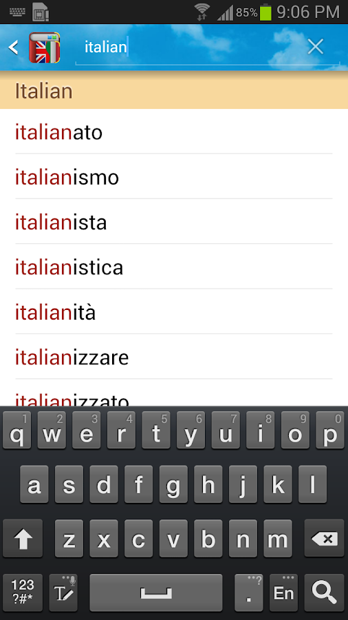Italian English Dictionary - screenshot