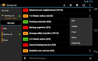 Screenshot of Moving Planner