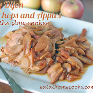 Honey Dijon Pork Chops and Apples in the Slow Cooker.