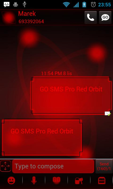 Red Orbit Theme for GO SMS Pro- screenshot
