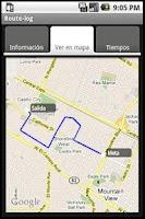 Screenshot of Route-log