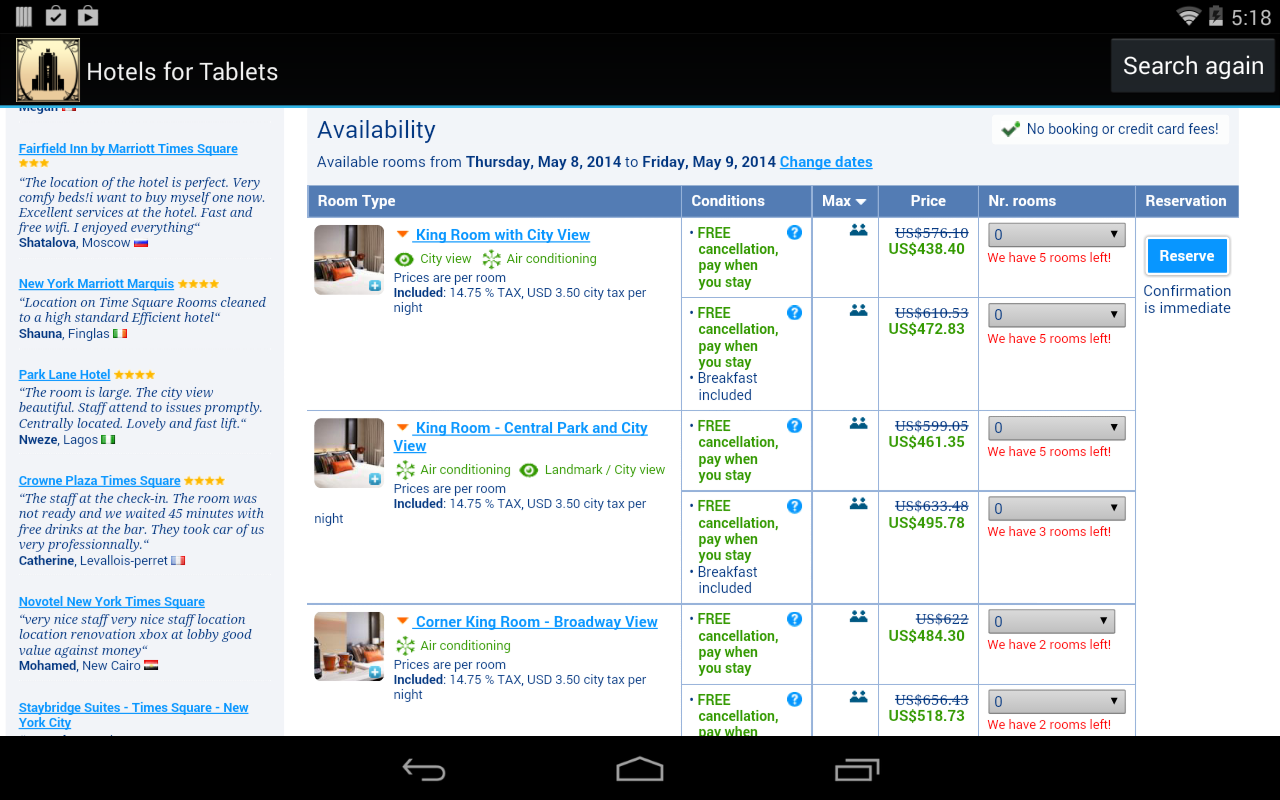 Hotels for Tablets - screenshot