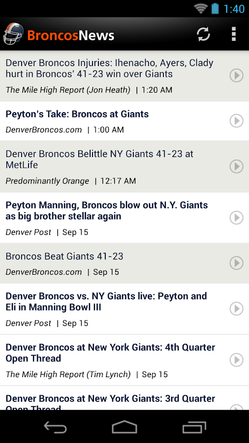 Broncos News - screenshot