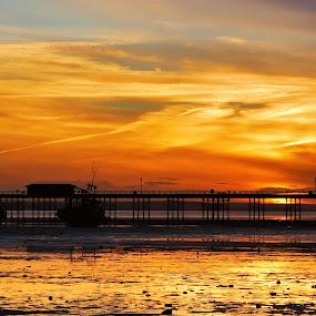 Glowing sunset by Nadezda Tarasova - Landscapes Sunsets & Sunrises ( silent, calm, reflection, skyline, ebb, silhouette, way, jetty, yellow, space, glow, coast, sky, shadow, path, above, pier, mooring, sunbeam, sightseeing, water, clouds, orange, structure, peaceful, romantic, sea, quay, tourism, sunlight, morning, paradise, dusk, amazing, vacation, dawn, sunset, contemplation, aura, sundown, wave, sunrise, wharf, walk, golden, river,  )