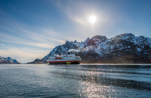 Hurtigruten-Finnmarken-in-Norway - Finnmarken, a ship in the Hurtigruten fleet, makes a spring voyage through the Lofoten Islands of Norway.