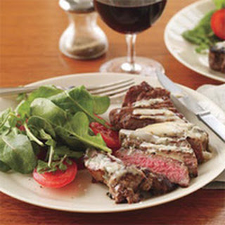 Sage-Chive Steaks with Arugula Salad.