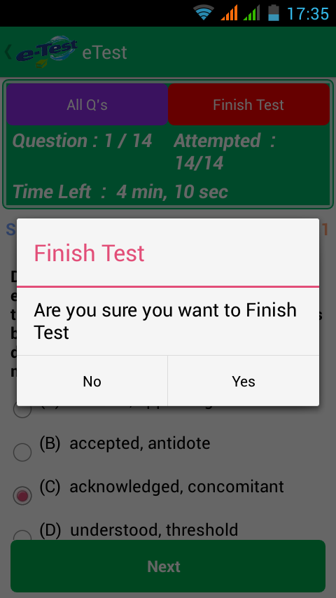eTest- screenshot