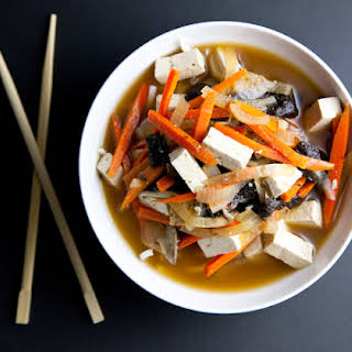 Vegetable Miso Soup with Tofu & Rice Noodles.