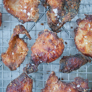 Fried Chicken Skins with Smoked Honey.
