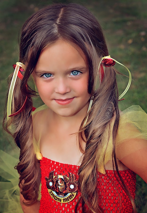 Iron girl :) by Tammi Allred - Babies & Children Children Candids ( child model, red, iron man, blue eyes, beauty, colby )
