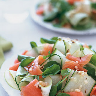 Smoked Salmon and Cucumber Ribbon Salad with Caraway