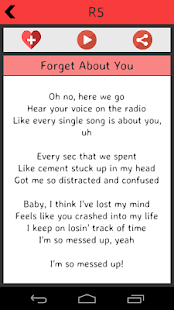 R5 Lyrics screenshot