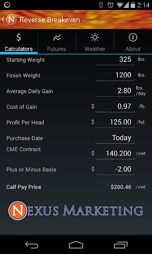 Nexus Cattle Calculator