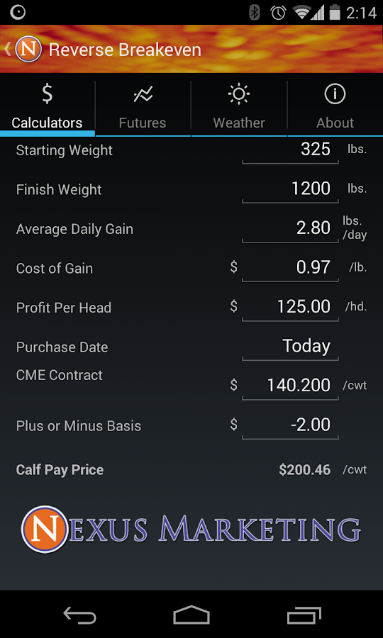 Nexus Cattle Calculator- screenshot