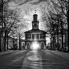 Sunrise through Market House by Carol Plummer - Black & White Landscapes (  )