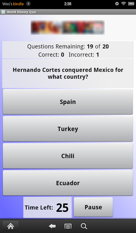 World History Quiz- screenshot