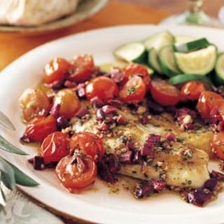Spicy Sauteed Fish with Olives and Cherry Tomatoes.