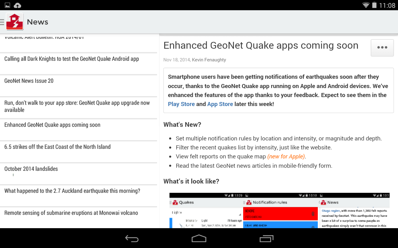 GeoNet Quake- screenshot