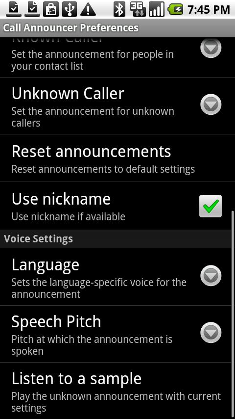 License for CallAnnouncer - screenshot
