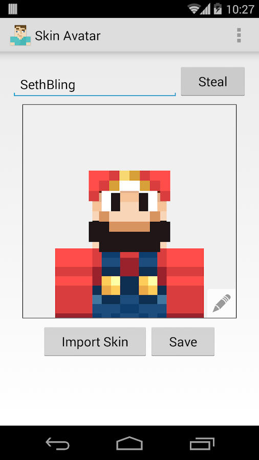 Skin Avatar for Minecraft - Android Apps on Google Play: https://play.google.com/store/apps/details?id=com.saranomy.skinavatar