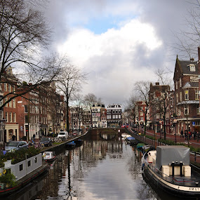 Canal by Jamie Tambor - City,  Street & Park  Street Scenes ( holland, amsterdam, boat, canal, netherlands,  )