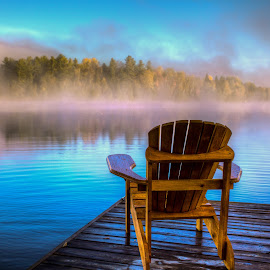 MORNING SUNRISE  by Dan Copeland - Artistic Objects Furniture ( adirondack chairs, tranquil, relax, tranquility, relaxing, lake chair sunrise sunset  cottage )