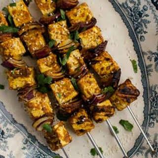 Grilled Vegan Coconut Curry Tofu Skewers.
