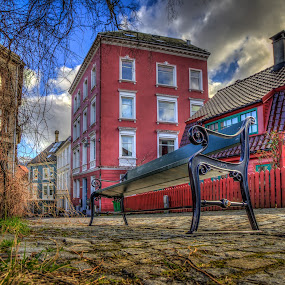 Bench on Cobblestone street  by Morten Golimo - City,  Street & Park  Street Scenes ( bergen, picturesque, cobblestone street, morten golimo, norway )